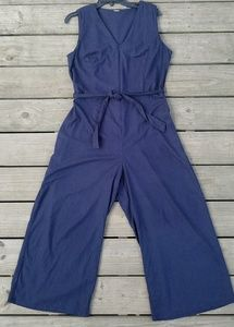 Tahari zipper front wide-leg blue jumpsuit